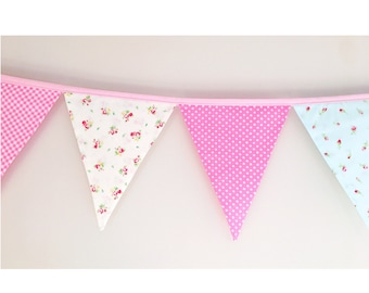 Shabby chic fabric bunting flags