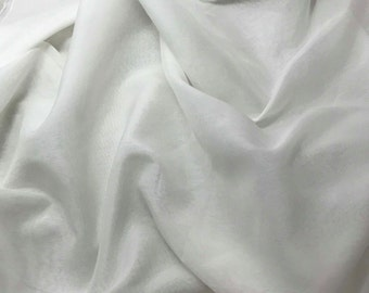 WHITE Silk and Cotton Batiste Fabric - 1 Yard