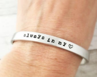 Always in my heart cuff bracelet, pet loss gift, memorial, personalized gift for her, bracelet with dog or cat names, sympathy jewelry
