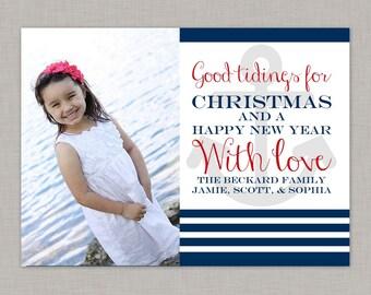 Nautical Christmas Card, Christmas Photo Card, Holiday Card, Printable