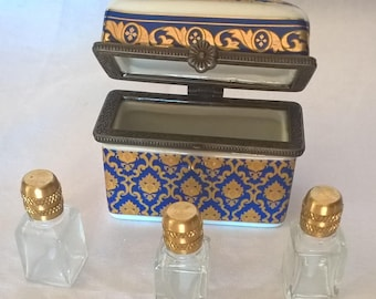 Antique Hand Painted Limoges France with 3 Glass Perfume Bottles