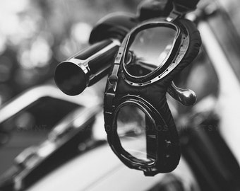 Motorcycle Halcyon Goggles Black and Whtie FineArt Print,Wall Decor, Wall Art, Gift Ideas, Home Decor, Photography