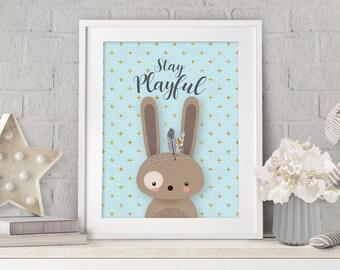 Nursery Bunny Art, Woodland Nursery, Wall Art, Print Nursery Rabbit, Nursery Decor, Boy Nursery, Blue Nursery, Baby Shower Gift, Nursery