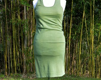 Green dress indie clothing sage grunge organic hemp hand dyed natural minimalist chic rustic hippy racerback sustainable ethical fashion