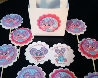 Abby Cadabby party Cupcake Toppers Sesame Street Muppets Birthday Party CUSTOM