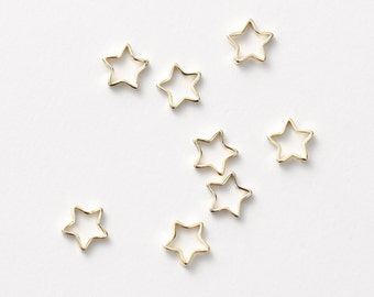 3248021 / Star Outline / 16k Gold Plated Brass Connector 5.3mm / 0.1g / 8pcs