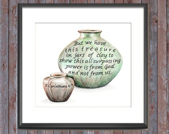 Jars of Clay, Bible Verse art print, scripture design, hand lettered typography, wall art decor, treasure