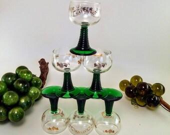 Luminarc Green Stem Wine Glasses | Set of 6 White Wine Glasses, Gatsberg, Made in France, Gold Grape Leaf Luminarc, Stacked Stemmed Glasses