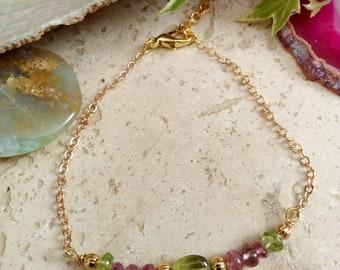 Genuine tourmaline and peridot bracelet.
