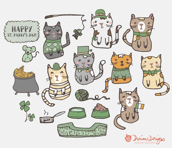 St. Patricks Day Kätzchen Clipart kommerzielle Nutzung clip