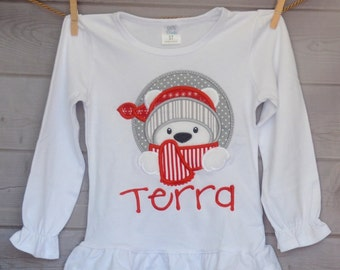 Winter Polar Bear with Hat & Scarf Applique Shirt or Onesie Boy or Girl