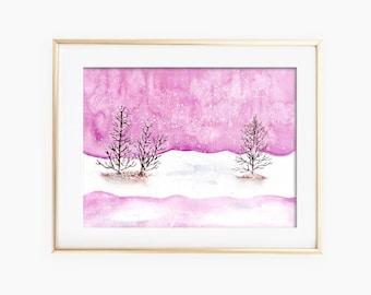 Winter Landscape Art, Winter Landscape Watercolor, Winter Landscape Painting, Winter Watercolor, Landscape Watercolor, Winter Painting