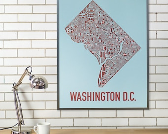 Washington DC Neighborhood Map Poster or Print, Original Artist of Type City Neighborhood Map Designs, DC Typography Map Art