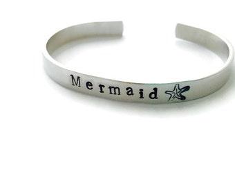 Mermaid Bracelet - Starfish Hand Stamped Aluminum Cuff Bracelet - Beach Jewelry - Surf Ocean Girl Ride the Wave