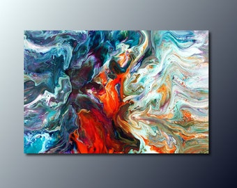 Art Print: Fire and Water; abstract fluid art acrylic pour painting; wall art print; housewarming gift