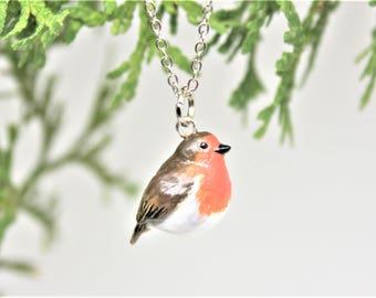 Robin Necklace Bird Necklace Robin Charm Robin Pendant Robin Figurine Robin Charm Necklace Robin Keychain Robin Jewelry Polymer Clay Robin