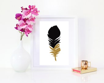 DIGITAL DOWNLOAD, Feather, Feather Wall Decor, Feather Art, Cute Feather, Black Feather, Gold Feather Art, Cute Art