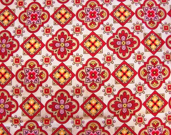 Vintage Fabric 1970s Pennsylvania Dutch Fabric Floral Fabric White Red Yellow Pink Fabric by the Yard 36 inch