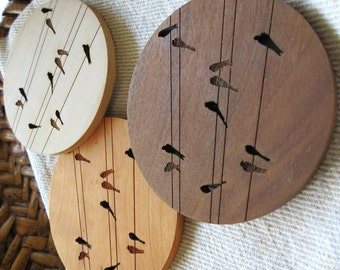 Wood Coasters - Set of 2 - Engraved Wood Coasters - Birds on Wire - set of 2