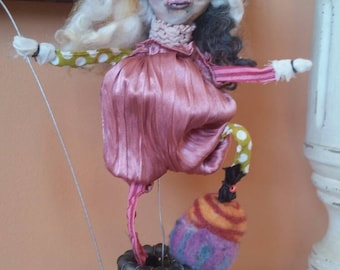 Art doll. Sculpture.  Fairy. Pixie. Sprite. Miniature. Sorcerer. Witch. Fantasy. Circus. Handmade dolls