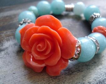 Resin flower coral, amazonite 14mm, tree of life theme, rondelle rhinestone bracelet, flower coral bracelet, genuine stone bracelet,