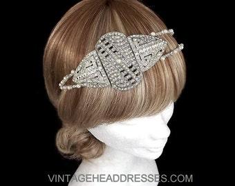 Art Deco Headpiece - Vintage Headpiece - 1920's Bridal Headpiece - Gatsby Headband - Wedding Headband - Art Deco Headband - Flapper Headband