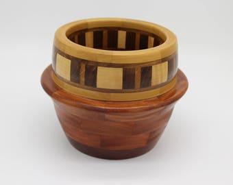 Medium Cabrueva, Yellowheart, Curly Maple, Magnolia, and Walnut Segmented Bowl