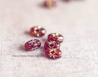 20 Garnet Star 6x4mm RiceCzech Glass Beads (A319)