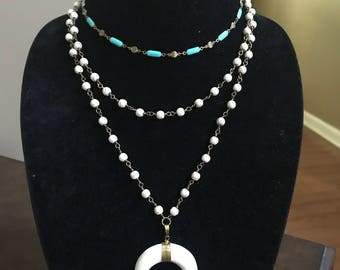 Turquoise Choker , Mid Length Marble Bead , Marble bead with Crescent Set