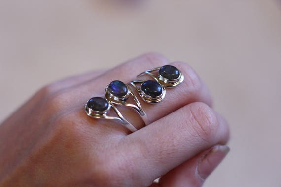 4 Stone labradorite Ring - ADJUSTABLE - 925 Sterling Silver Ring - Statement Ring - Healing Crystal - Gemstone  - Vintage Ring - Valentines