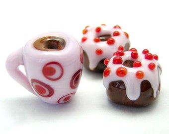 Coffee and Donuts - Mermaid Glass Lampwork Beads