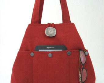 fabric handbag, shoulder bag, tote bag converts to hobo bag, everyday bag, rust burnt orange purse bag, gift ideas for women