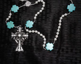 Turquoise and Pearl Rosary