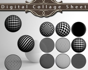 "1.25"" x 1.25"" Digital Circle Collage Sheet - Sphere / Spherical Pattern Design"