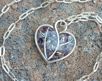 Wedding Memento or Funeral Memorial Keepsake made from your Flower Petals or Pet fur or Cremains - CLEAR iLOVE BRANCH Pendant or Necklace