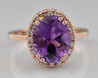 14K Rose Gold Amethyst Ring | Diamond Halo | Engagement Ring | Wedding Ring | Statement Ring | Anniversary Ring | Handmade Fine Jewelry