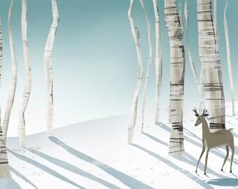 Winter Forest Art Print | Forest Painting | Winter Art | Outdoorsy Children's Art | Jennifer Shear | 5x7 | 8x 10 | 11x14