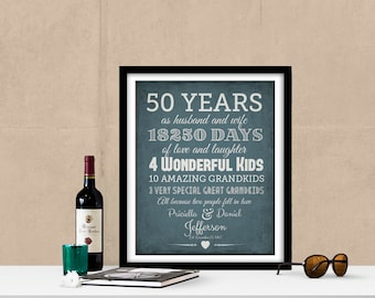 50th Anniversary Gift for Parents, Golden Anniversary Gift, Grandparents Gift, Christmas Gift For Parents, Parents Anniversary Gift