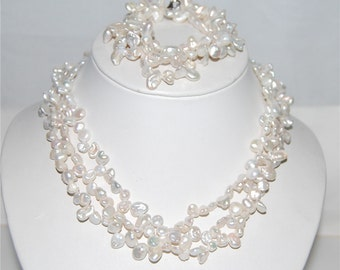 7-8mm Keshi Pearl Set,Bridal Pearl Set,Keshi Pearl Necklace for bridesmaid,Irregular Pearl Necklace and Bracelet Set,100% Freshwater Pearl