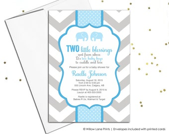 Printable twin boy baby shower invitation - twin baby boys shower invite with elephants - blue and gray - chevron - WLP00795