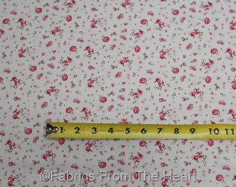 Roses in Red Pink Flowers Abigal Garden on Cream BY YARDS Benartex Cotton Fabric