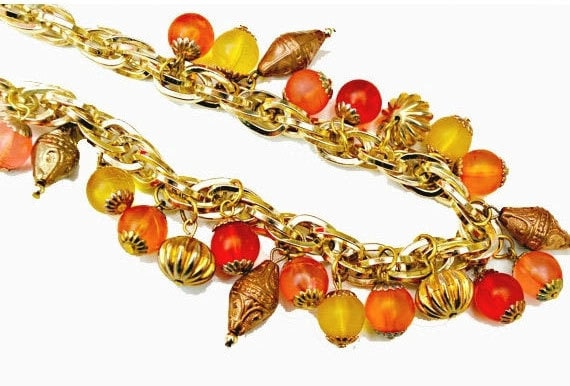 tutti fruiti bead Necklace - colorful Lucite Bead -  orange yellow - gold chain  collar necklace