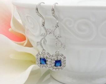 FREE US Ship Sapphire CZ And Vine Bridal Earrings Square Sapphire Vine Earrings Something Blue Bridal Earrings Cz Bridesmaid Earrings