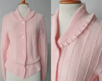 50s Vintage Cardigan With Drawstring Waist // Pure Wool