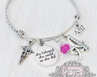 Graduation Gift,She Believed she could so she did, Nursing Graduation, Letter Charm Bangle Bracelet-Jewelry- New Grad Gift, College,Graduate