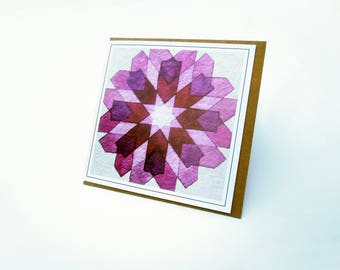 Greeting Card - Single Card - Geometry Watercolor Painting Greeting Card