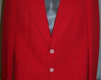 """Vintage 1970's BRIGHT RED BLAZER Men's 40-42-R Polyester 4.5"""" Lapels 2-Buttons White Lining Retro Disco"""