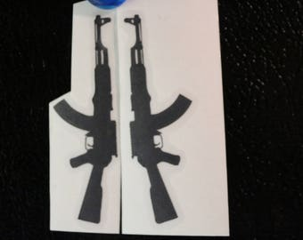 AK-47 Rifle Mirrored Pair Silhouette Decal Any Size Any Colors