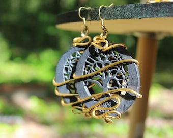 Sylvie's Black Tree of Life Earrings