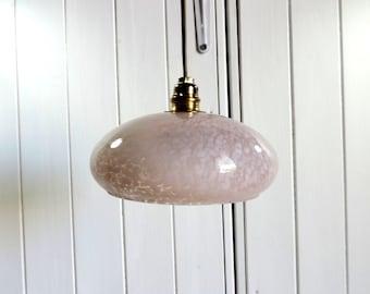 Vintage French Art Deco style pink splatter glass ceiling or pendant light